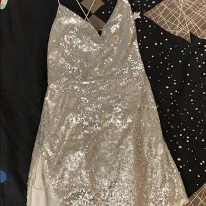 Silver sequin New Year's Eve dress
